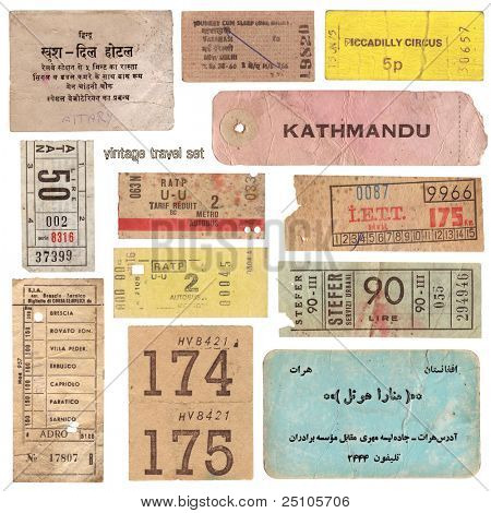 collection of vintage tickets from around the world and other travel documents