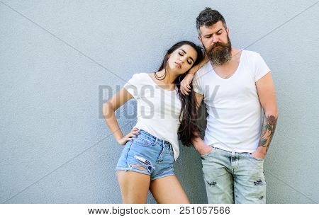 Urban Fashion. Fashion Trend Comfortable Simple Clothing For Man And Woman. Couple Grey Background.
