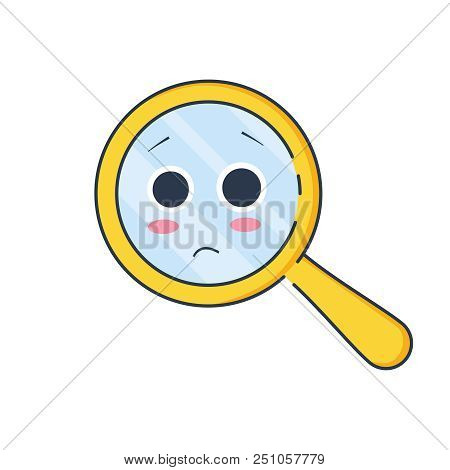 Upset Magnifying Glass, Cute Not Found Symbol And Unsuccessful Search.zoom For 404 Icon, No Suitable