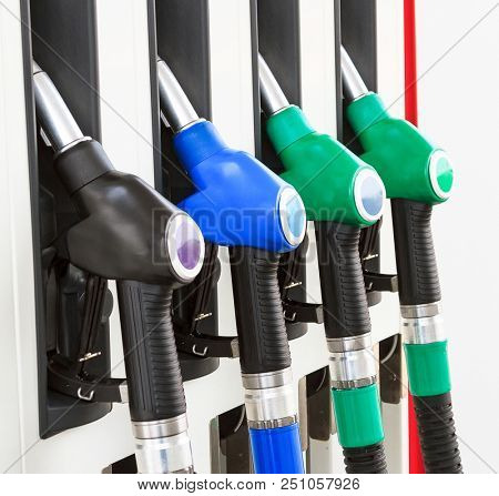 Closeup shot of gas pump station
