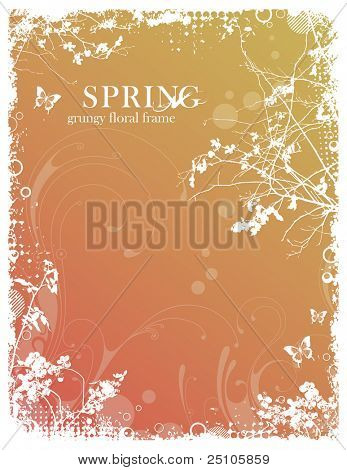 grungy floral spring frame with foliage and halftone elements