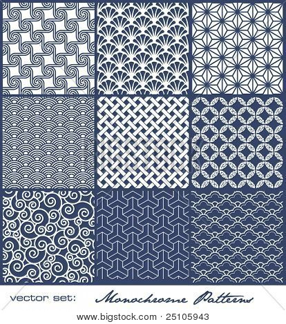 set of nine monochrome geometrical patterns (seamlessly tiling)