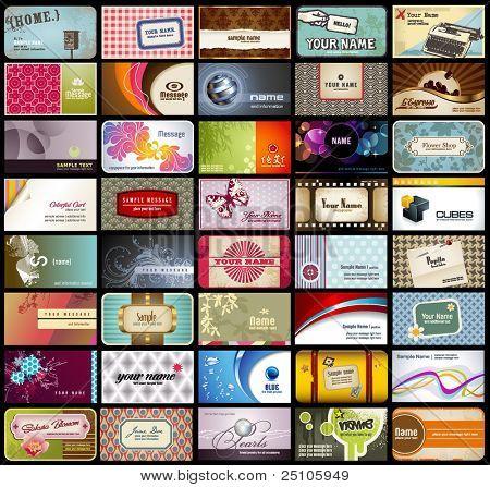 Vielzahl von 40 detaillierte horizontale Visitenkarten zu verschiedenen Themen