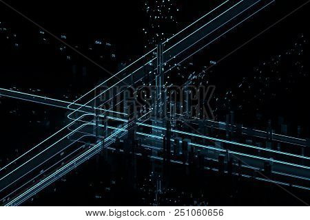 Isometric View Of The City. Neon The Road. Database. Protection Of Information Server. 3d Illustrati