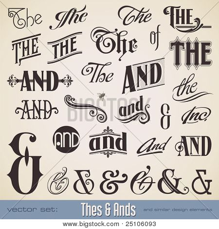 vector set: ornate thes & ands - perfect for headlines, signs or similar graphic projects