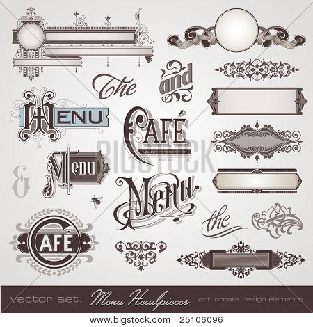 vector set: menu headpieces, panels and ornate design elements