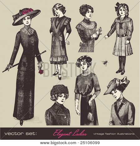 vector set: elegant vintage ladies (and girls) - variety of retro fashion illustrations and portraits