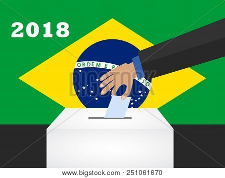 Election Day In Brazil 2018. Hand Holding Envelope Above Vote Ballot. Vector Illustration