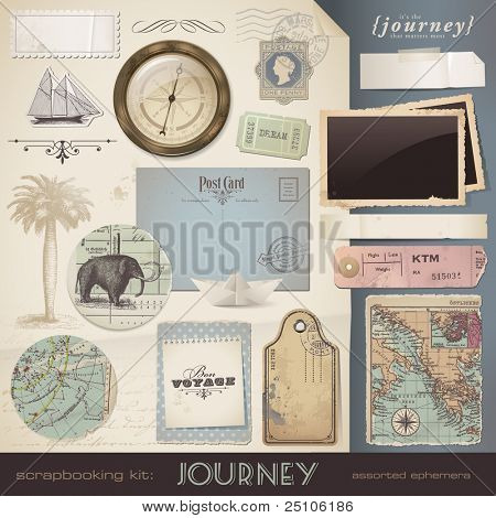 digital scrapbooking kit: Journey - assorted ephemera and paper objects for your travel and vacation layouts (eps10 file) poster