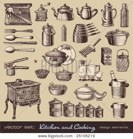 vector set: keuken en koken - collectie items op vintage keuken-en tafelgerei
