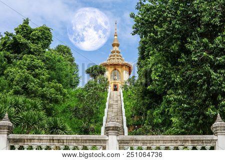Full Moon Back Silhouette Triple Pagoda In Sky