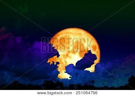 Full Worm Moon Back Silhouette Cloud Night Sky