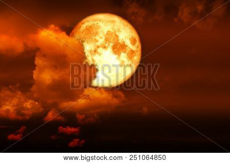 Super Blood Moon Back Red Cloud On Red Night Sky