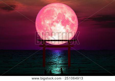Super Blood Moon Silhouette Torii Wooden Japanese Pillar Stand On Sea Night Sky