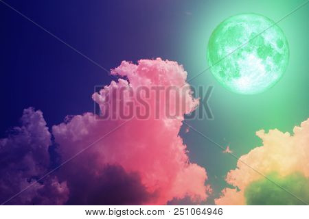 Super Full Green Moon Back Silhouette Colorful Sky