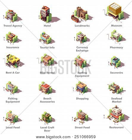 Vector Isometric Travel And Tourism Icons Representing Different Tourism Related Buildings And Facil
