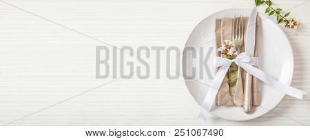 Holiday Table Place Setting With Plates, Fork And Knife, Copy Space