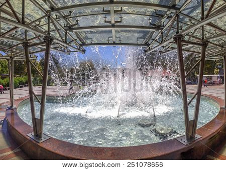 Pool With Splashing Water Of The Singing Fountain In Sochi, Russia.