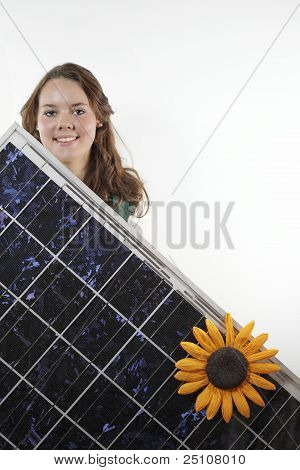 teenager with photovoltaic module