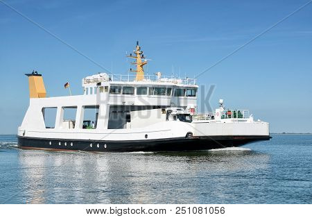 Ferry From Nordstrand Peninsula To Pellworm Island At North Sea,north Frisia,schleswig-holstein,germ