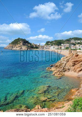 Beach And Village Of Tossa De Mar At Costa Brava,catalonia,mediterranean Sea,spain