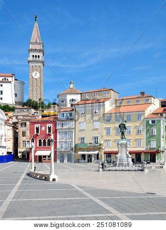 Market Place Of Piran At Adriatic Sea,slovenia