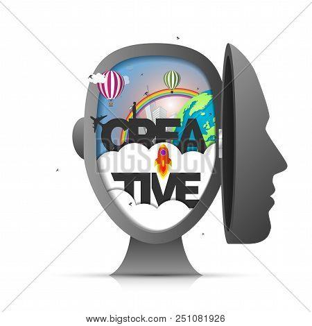 Human brain. Creative mind concept. Genius. Vector illustration poster