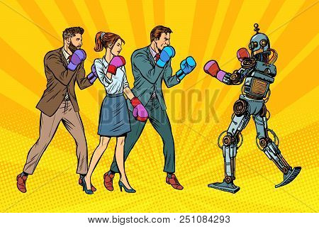 People Box With A Robot. Humanity And New Technologies. Pop Art Retro Vector Illustration Kitsch Vin