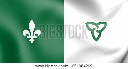 3d Franco-ontarian Flag. Ontario, Canada. 3d Illustration.