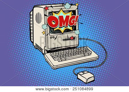 Omg Vintage Retro Computer. Pop Art Retro Vector Illustration Kitsch Vintage