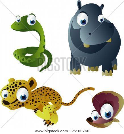 vector snake, hippo, cheetah and cockleshell