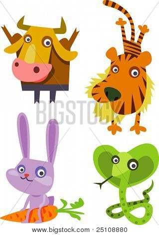 animal set 17 chineese year horoscope: bull, tiger, rabbit, snake
