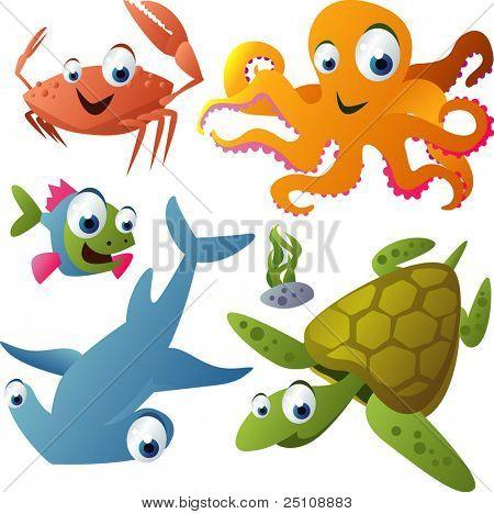 vector animal set 21: crab, octopus, fish, shark, turtle