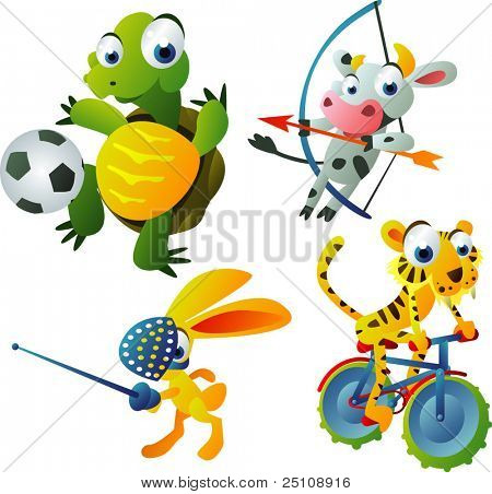 vector animal set 42: games set: turtle, cow, hare, tiger