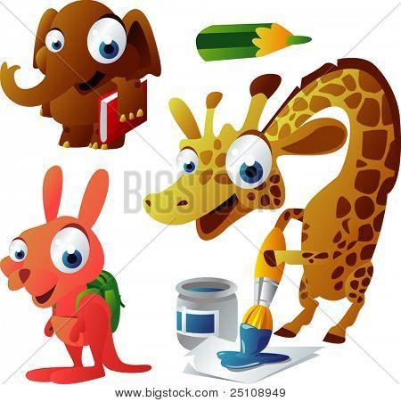vector animal set 63: school: elephant, giraffe, kangaroo