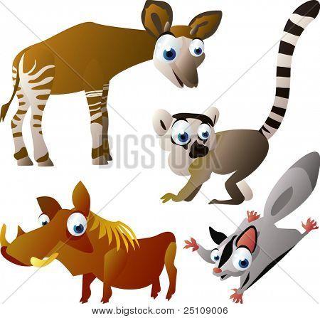 vector animal set 95: okapi, lemur, glider, warthog