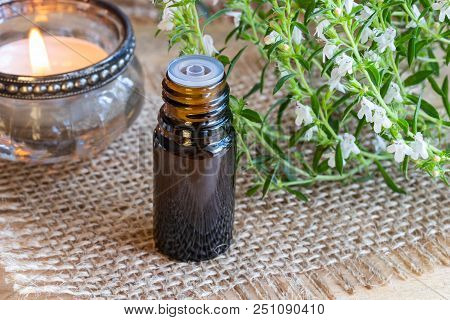 A Bottle Of Mountain Savory Essential Oil With Fresh Blooming Satureja Montana Twigs
