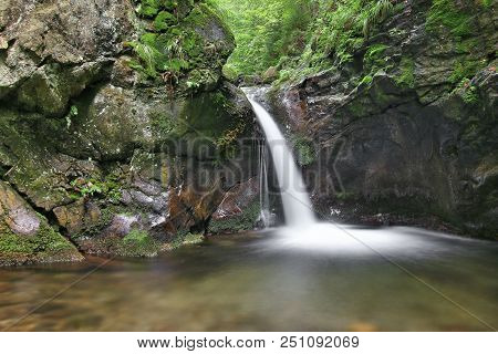 Nyznerov Waterfalls On The Siver Brook, Czech Republic. Silver Creek Falls, Also Nyznerov Waterfalls