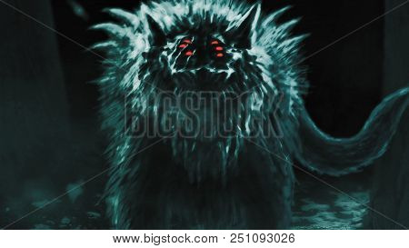 Alien Wolf Emerges From Dark Forest And Opens His Mouth. Illustration In Genre Of Horror.