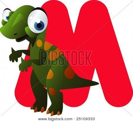 vector dino alphabet: M is for muttaburrasaurus