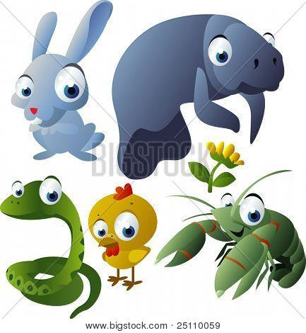 2010 animal set: rabbit, manatee, snake, chicken, cray fish