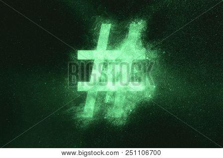 Hashtag Sign, Hashtag Symbol. Green Symbol Green Symbol