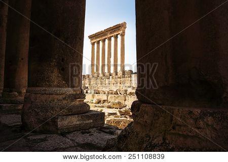 The High Columns Of The Jupiter Tempel Of Baalbek Seen Through Columns, Lebanon
