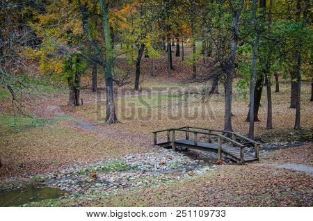 Beautiful Scenic Walk Through The Woods With Wooden Bridge Over Stream. Hike Through Wood Park With