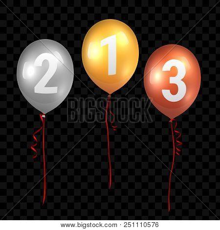 Vector Realistic Translucent Golden Baloons Mockup. 3d Vector Illustration