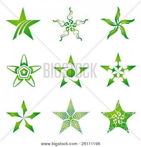 Set of decorative and creative five cornered/pentagonal stars