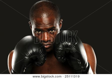 Young African American Boxer wearing gloves isolated on a dark background