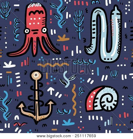 Marine Life Seamless Background. Octopus, Moray, Anchor, Shell And Other Handdrawn Elements. Vector