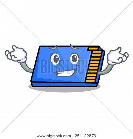 Grinning Memory Card Character Cartoon Vector Illustration
