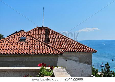 Old House Whit Red Roof Whit Panoramic Sea View As Background/ Typical Mediterranean House By The Se